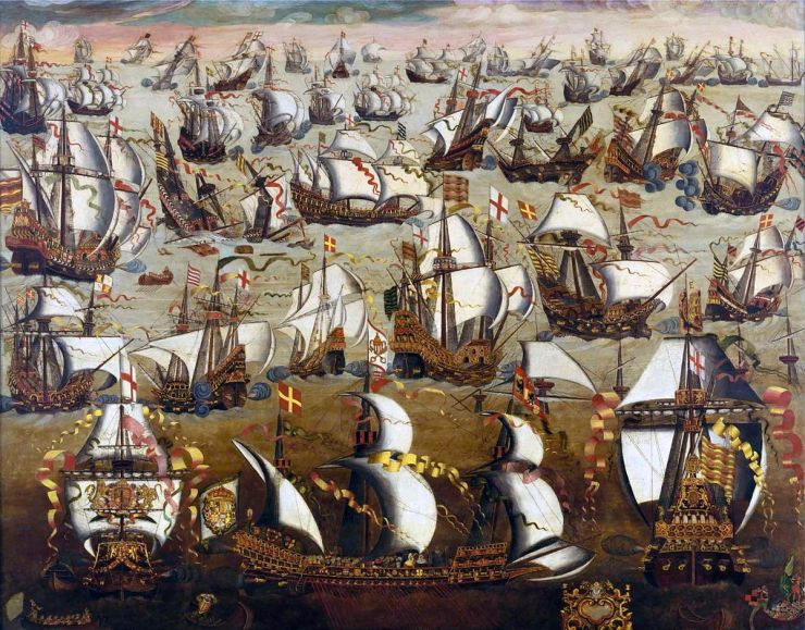 The Navy battles with the Spanish Armada
